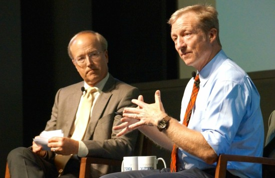 Tom Steyer during a 2014 appearance at UCSB, with John Bowers, director of the campus-based Institute for Energy Efficiency