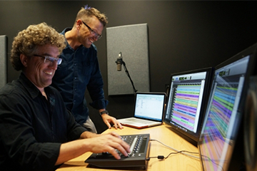 Sven Holcomb (left) and Chris Jenkins (right) in the Lazarus Sound Lab