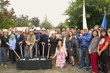 Jack and Kim Johnson help break ground on UCSB's Edible Campus program student farm