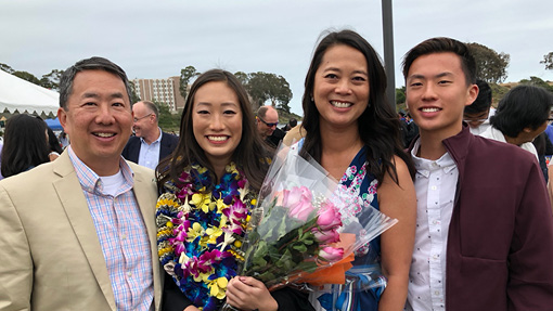 The Jue family: Crandal, Caitlyn '18, Julie, and Cav '20