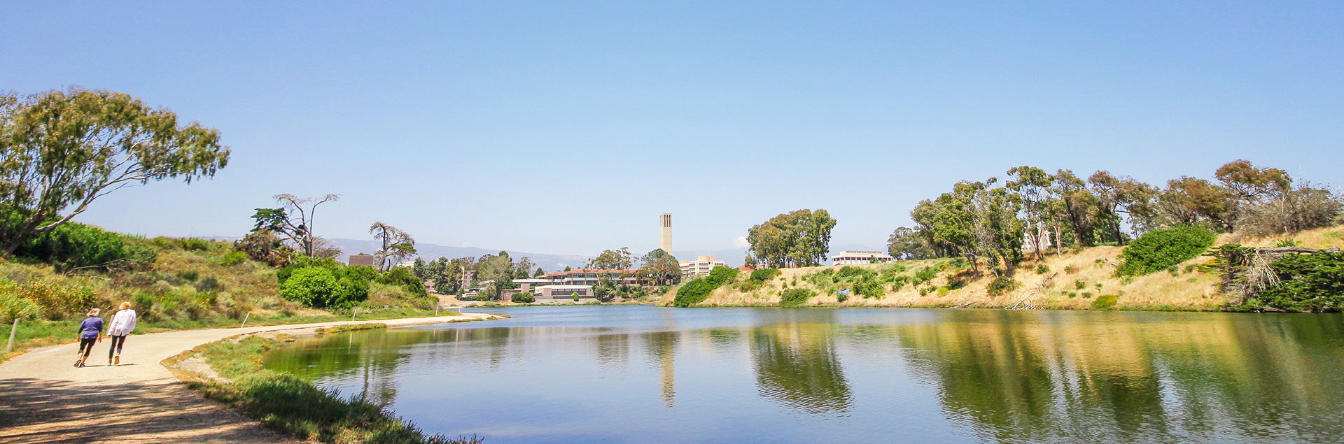 Scenic view of the lagoon with Storke Tower in the background